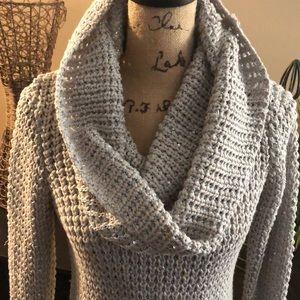 🔵Cache Gray Oversize Metallic & Sequin Sweater